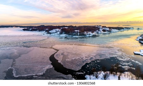 Aerial  Sunset at Suomenlinna Maritime fortress on the Islands in  Helsinki.Finland.