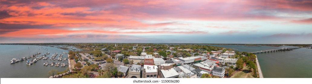 Aerial sunset view of Beaufort, South Carolina. Panoramic picture from drone perspective.