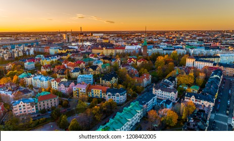 Aerial sunset view of beautiful city Helsinki . beautiful sky and colorful buildings. Helsinki, Finland.