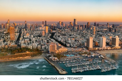 Aerial sunset  view  of  coast line in Tel Aviv,  Israel.