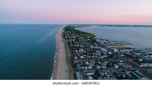 An aerial sunset view of Dewey Beach, near Rehoboth, on a busy weekend in the summertime. The region is a popular vacation spot on the East Coast in June, July and August.