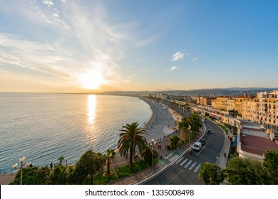 Aerial sunset view of the famous Angel's Bay, Nice at France