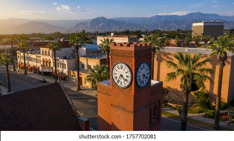 Aerial sunset view of the historic downtown area of Redlands, California.
