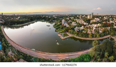 An aerial sunset view of Sankey Tank, Bangalore, India