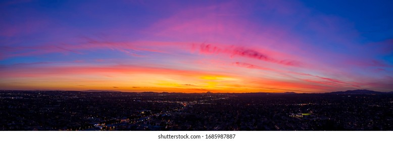 Aerial sunset view of the Temple City, Arcadia area at Los Angeles County, California