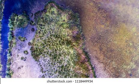 Aerial survey of the Ukrainian island of Ermakov. Incredible Ukrainian landscapes