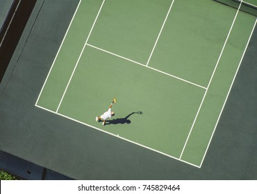 Aerial of tennis court Washington, USA