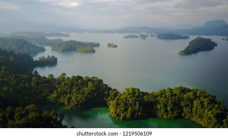 Aerial Thailand Khao Sok National Park with jungle and Clouds