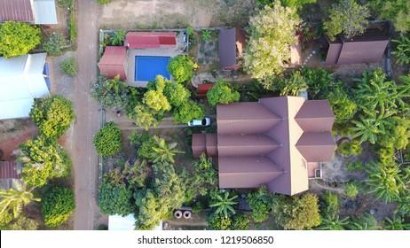 Aerial Thailand Khao Sok National Park building house real estate swimming pool relax enjoy jungle Mae Hong Song