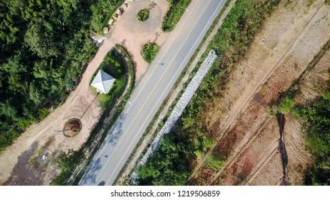 Aerial Thailand Khao Sok National Park street highway creek beneath transportation