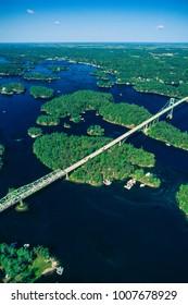 Aerial of Thousand Islands Bridge, Ontario, Canada