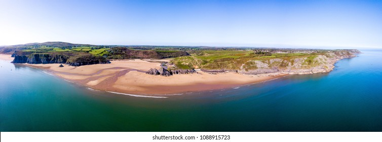 Aerial - Three Cliffs Bay, Gower Peninsula, Swansea, Wales.