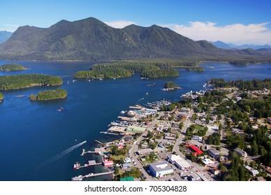 Aerial of Tofino, Vancouver Island, British Columbia, Canada