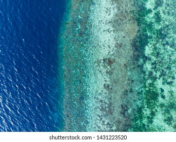 Aerial top down coral reef tropical caribbean sea, turquoise blue water. Indonesia Wakatobi archipelago, marine national park, tourist diving boat travel destination
