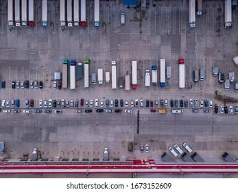 Aerial top down drone shot. Cargo truck terminal.