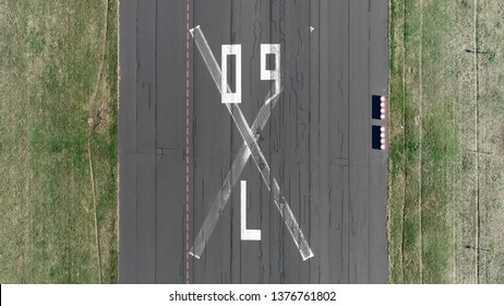 Aerial top down photo of abandoned airport runway Tempelhofer Feld in English Templehof Field historically was an area in Berlin used for military practice and as a parade ground of the garrison