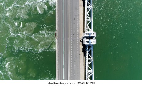 Aerial top down photo Eastern Scheldt storm surge barrier in Dutch Oosterscheldekering the largest of 13 ambitious Delta Works series of dams and storm surge barriers designed to protect Netherlands