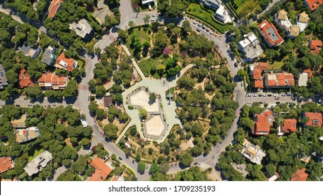 Aerial top down photo of huge junction circular roundabout park with no traffic
