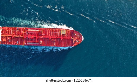 Aerial top down photo of industrial oil and fuel tanker cruising open ocean sea - Shutterstock ID 1515258674
