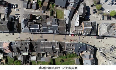 Aerial top down photo of shopping street in La Roche en Ardenne Belgium located in the province of Luxembourg the small town is one of the most popular tourist destinations in the Ardennes