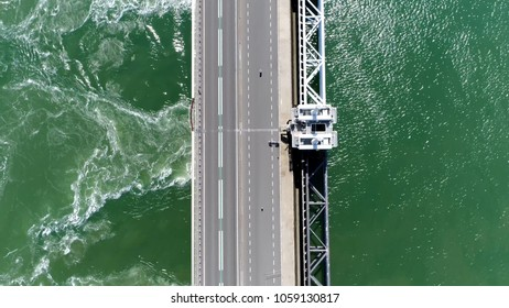 Aerial top down picture Eastern Scheldt storm surge barrier in Dutch Oosterscheldekering the largest of 13 ambitious Delta Works series of dams and storm surge barriers designed to protect Holland