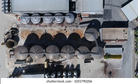 Aerial top down picture of wine producing plant and wine orchard winemaking is production of wine starting with selection of the fruit its fermentation into alcohol and bottling of finished liquid