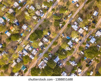 Aerial top down view of campsite on the mediteranean cote d'azur coast near Cannes, France