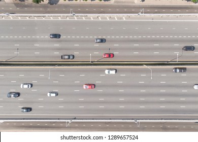 Aerial top down view of  cars on the expressway street