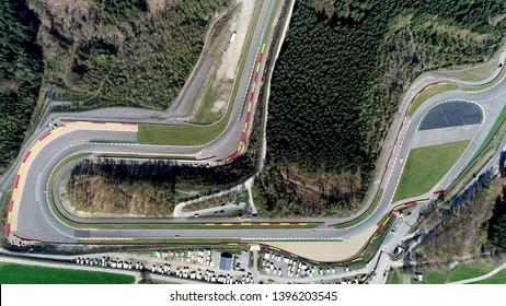 Vue aérienne de haut en bas du Circuit de Spa-Francorchamps est un circuit automobile situé à Stavelot Belgique également appelé Spa il est le lieu du Grand Prix belge de Formule 1