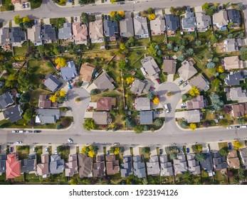 Aerial top down view of houses in beautiful residential neighbourhood during fall season in Calgary, Alberta, Canada.