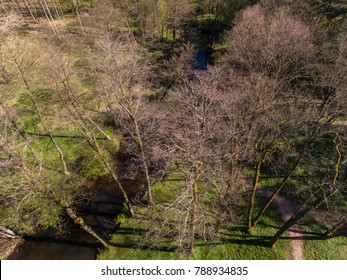 Aerial top down view over recreational park during early spring in Druskininkai, Lithuania.