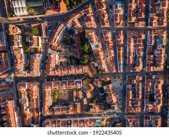 Aerial top down view of traditional residential neighbourhood at sunrise in the Belem District of Lisbon, Portugal.