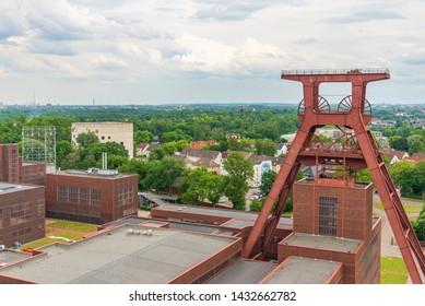 Aerial top panoramic view of Zeche Zollverein, Zollverein Coal Mine Industrial Complex, from rooftop of Ruhr museum in Ruhr region in Essen, Germany.