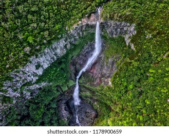 Aerial top view of 500 feet Waterfall (Cascade 500 pieds) located at Mont Blanc, Mauritius