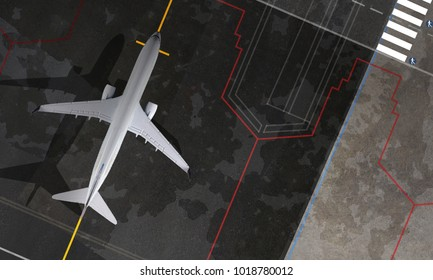 Aerial top view of Airplane in the airport
