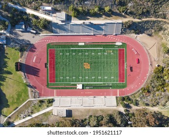 Aerial top view of American football field in San Diego, California, USA. April 3rd, 2021