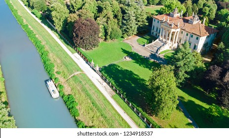 Aerial top view of ancient villa Giovanelli and garden on canal Brenta from above, Padua (Padova) in Veneto, Venice region, Northern Italy