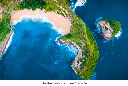 Aerial Top View Background. Flying Drone Above Beautiful Blue Sea Water. Wonderful Panoramic Landscape. Ocean Waves Background. Tropical Beach View. Crystal Waves. Clean, Blue Background. Green View