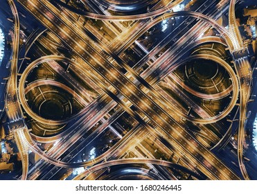 aerial top view of bangkok roundabout road at night, thailand.