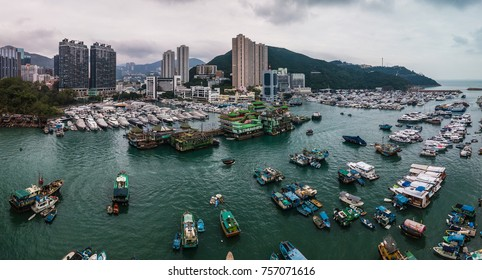 Aerial Top View of Boat in The Aberdeen Bay, Famous Floating Village in Hong Kong