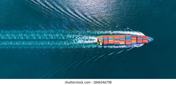 Aerial top view of cargo maritime ship with contrail in the ocean ship carrying container and running for export  concept technology freight shipping by ship smart service - Shutterstock ID 1846546738