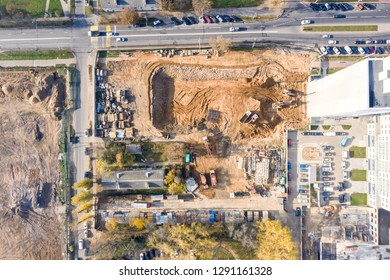 aerial top view of city construction site. city infrastructure development. drone photography