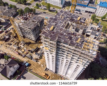 aerial top view of construction site. new multi-storey apartment building under construction