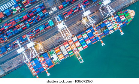 Aerial top view container cargo ship, Business import export logistic and transportation of International by cargo ship in the open sea.