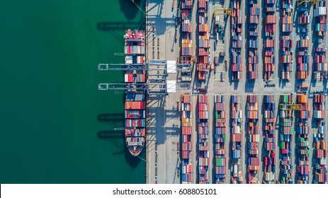 Aerial top view container cargo ship, in import export business logistic and transportation by ship international open sea.