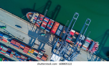 Aerial top view container cargo ship, in import export business logistic and transportation.