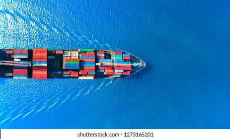 Aerial top view container ship full load container for logistics import export, shipping or transportation concept background. - Shutterstock ID 1273165201