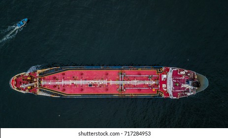 Aerial top view crude oil tanker ship logistic and transportation in the open sea.
