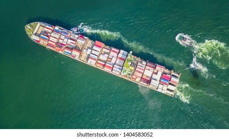 Aerial Top view drone photography Cargo ship departing from Hong Kong's industrial port.Logistics and transportation of Container Cargo ship logistic import export in HONG KONG