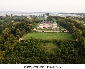 Aerial top view to famous ukranian sightseeing - Old palace castle in Pidhirci was build by Stanislav Koniecpolski, Lviv region, Ukraine